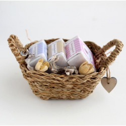 Basket three artisan soaps