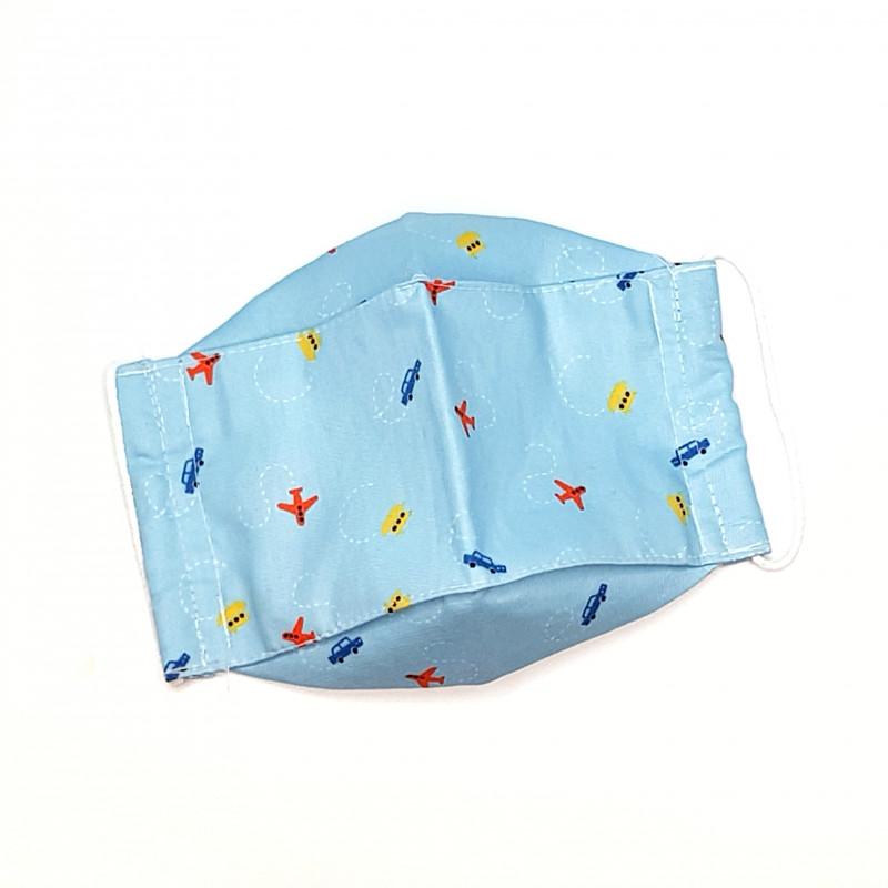 Mascarilla de Tela de Algodón Azul Celeste Aviones Coches Barcos