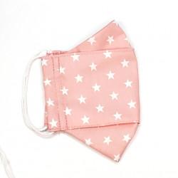 Mascarilla de Tela de Algodón Rosa Estrellas Blancas