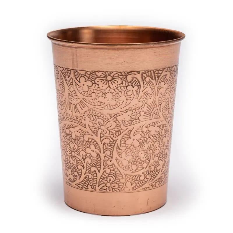 Vaso de Cobre con Diseño Floral Grabado