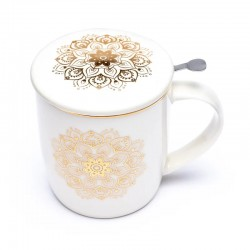 Taza de Té Mandala Blanco