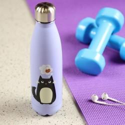 Botella Térmica de Acero Inoxidable - Gato Feline Fine - 500ml